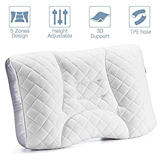 LUXEAR Bed Pillow, Adjustable Pillow for Sleeping, Fill with Innovative TPE Hose, DIY 5 Partition Design, Machine Washable, Relief Neck & Shoulder Pain, Perfect for Side,Back,Stomach Sleeper
