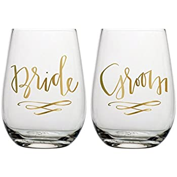 bride groom wine glass set set of 2 stemless wine glasses for wedding couple
