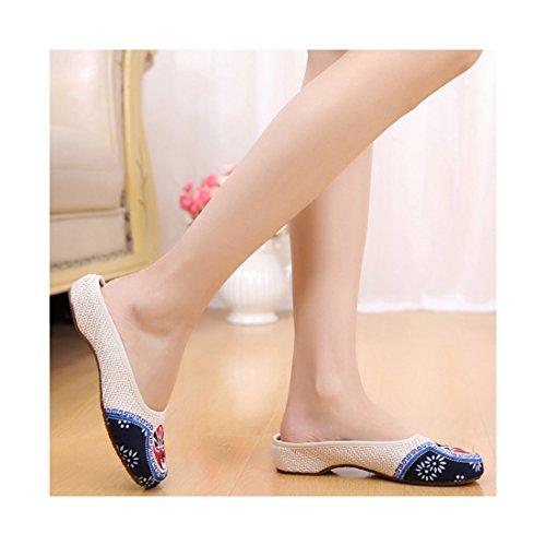 Chaussures Florales Chinoises Brodées Vintage Femme TAOHUADUODUOKAI Ballerines Mary Jane Ballerine Flat Ballet Cotton Loafer Beige