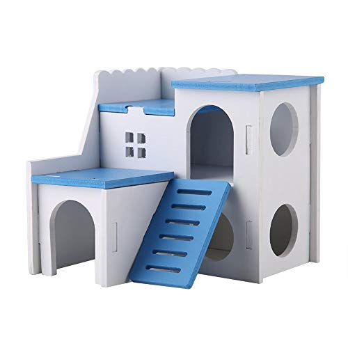 HEEPDD Hamster Hideout House Deluxe Two Layers Wooden Living Hut Small Animal Exercise Funny Nest Play Chews Toys Assembled Villa for Mouse Chinchilla Rat Gerbil Dwarf Hamster(Blue)