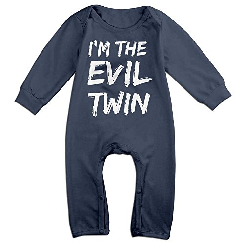 Baby Infant Romper Halloween I'm The Evil Twin Long Sleeve Playsuit Outfits Navy 12 Months