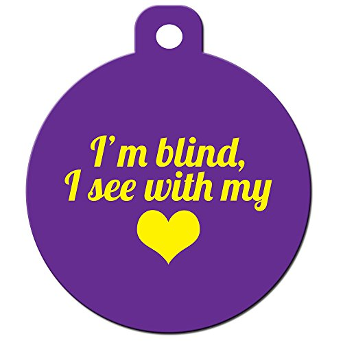 Medical Alert Dog Cat Pet ID Tag - ''I'm Blind I See With My Heart'' - Personalize ... by Big Jerk Custom Products Ltd