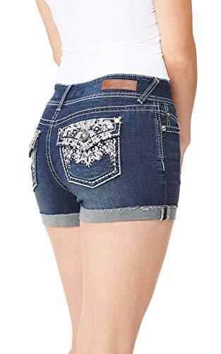 WallFlower Women's Juniors Bling Pocket Luscious Curvy Midthigh Shorts in Kyle, 13 - Embellished Back Pocket Jean