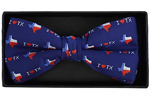 Urban-Peacock Men's Banded Bow Ties with Gift Box (I Love Texas - Blue)
