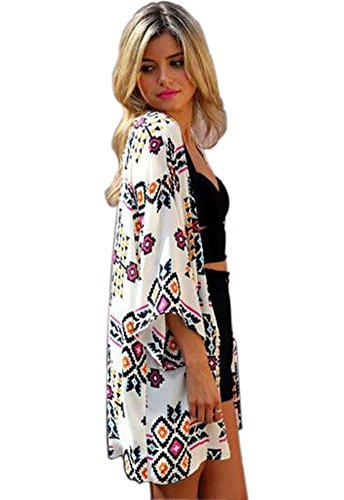 Cami-sunny¨ Women Chiffon Printed Cardigan Kimono Robe Tops Beach Cover up Blouse