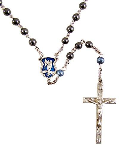 Patron Saint Michael Rosary Saint Michael Hematite Prayer Bead Police Rosary with Pewter Crucifix, 13 1/2 Inch