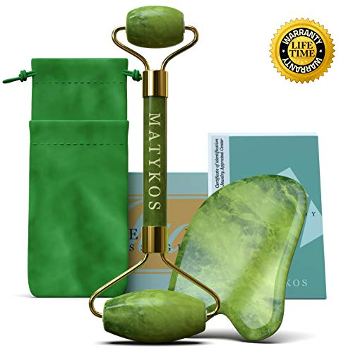 Certified Jade Roller and Gua Sha Tools Set by Matykos - Jade Roller For Face - 100% Real Certified Xiuyan Stones - Green Facial Tools with BONUS Carrying Pouch, Certificate, Brochure, Gift Box, EBook