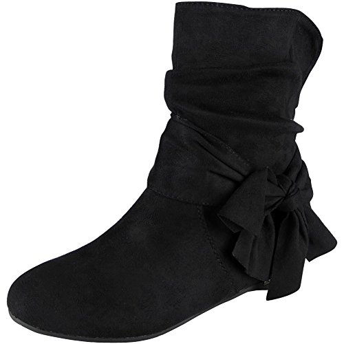 8 Heel Size Ankle Wedge Look Suede Boots Ladies Black Bow Loud 3 Faux Slouch xg7SBwYq