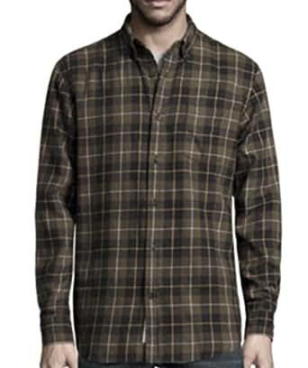 st s bay mens button flannel shirt green tartan
