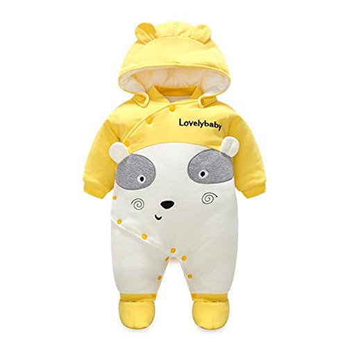 Ikevan Newborn Baby Cotton Thick Hooded Baby Warm Rompers Outfits Clothes in Autumn and Winter Clothes (Size:12M, Yellow)
