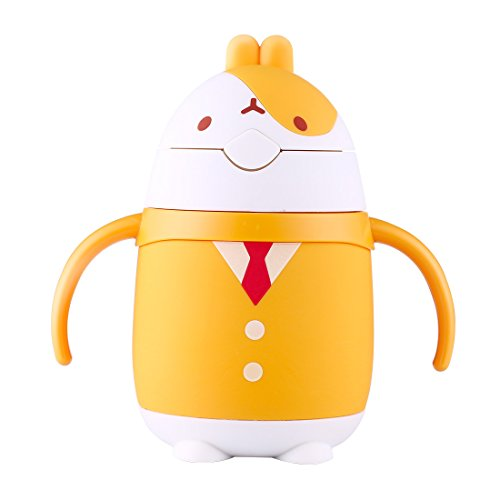 ZDZDZ 8-Ounce Baby Cup with Handles and Straw for Kids, Cute Rabbit Design Learner Sippy Cup For Badies and Toddler (Yellow) (Straw Cute)