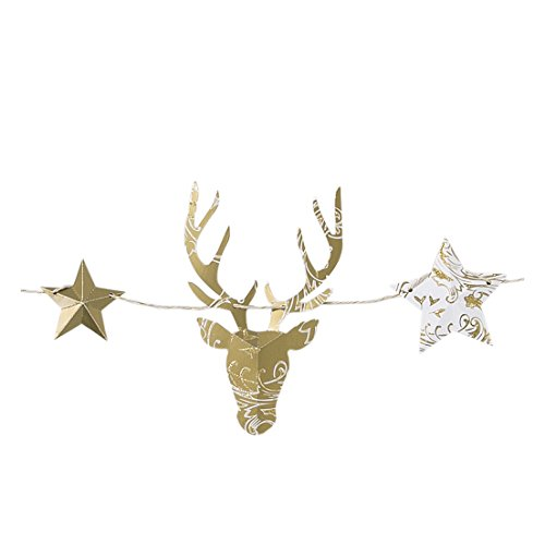 Talking Tables Gold Party Stag Garland, 2.5m, Gold (Deer Decorations)