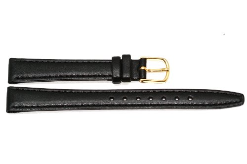 12mm Black Leather Click On Watch Band Strap