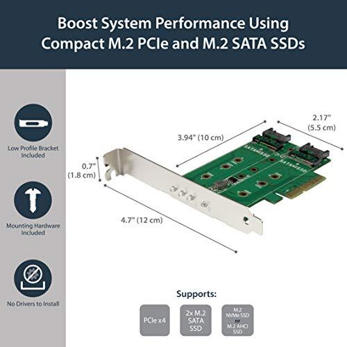 M 2 Adapter - 3 Port - 1 x PCIe (NVMe) M 2 - 2 x SATA III M