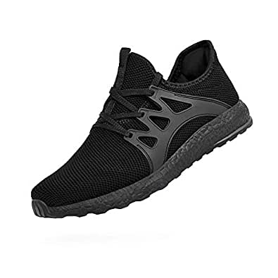 Emicii Men Casual Mesh Lace-up Lightweight Gym Shoes Fascinating Walking Athletic Black Size: 4