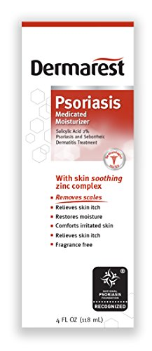 Dermarest Psoriasis Medicated Moisturizer, 4 oz, Salicylic Acid 2%, Soothing zing complex, Fragrance free formula helps remove & prevent scales. Packaging may (Psoriasis Wash)