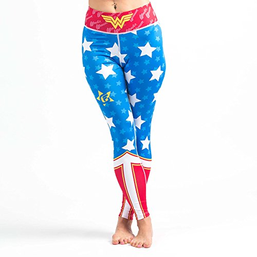 Fusion Fight Gear Wonder Woman Spats Leggings Compression Yoga Pants Tights (M) Blue and Red