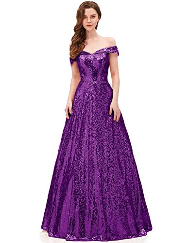 YIRENWANSHA 2019 Off Shoulder Sequined Prom Party Dresses for Women A Line Empire Waist Robes Plus Size Formal Evening Skirts Long Elegant Gowns SHPD41 Grape Size 16