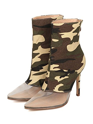 7a393f0b9487 Women Mesh Toe Ankle Boot - Stiletto Bootie - Mixed Fabric Heel Bootie - HK67  by
