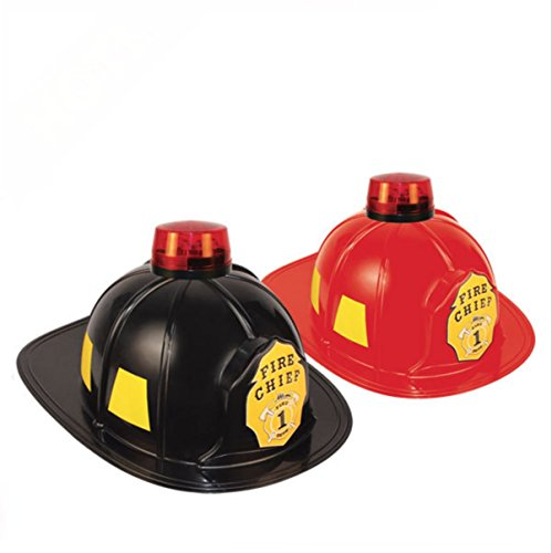 OliaDesign Firefighter Helmet, Red (Adult Tan Fireman Costume)
