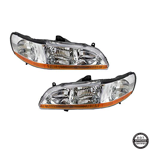 Replacement Headlight Assembly GHDAC98-A2 with Chrome Housing Amber Reflector for Honda Accord 1998-2002 ()