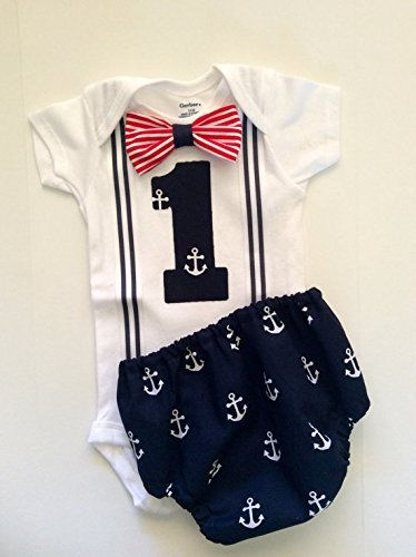 Nautical Anchor Suspender Onesie Cake Smash Boys First Birthday Outfit w/Optional Party Hat