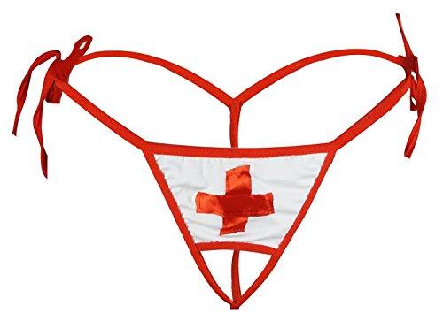 (Women's Sexy Wicked Open Crotch Nurse G-String, White, One Size)
