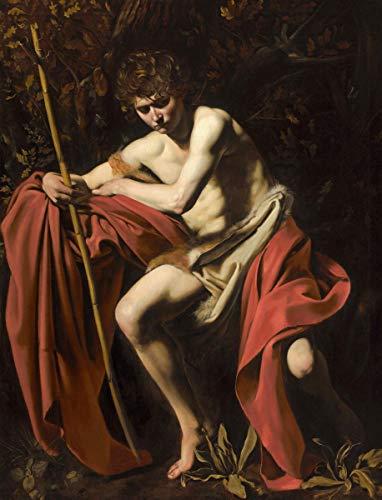 Berkin Arts Michelangelo Merisi da Caravaggio Giclee Canvas Print Paintings Poster Reproduction(Saint John The Baptist in The Wilderness) (John The Baptist John In The Wilderness Caravaggio)