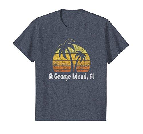 Kids Retro St. George Island Florida T-Shirt Florida Beach Shirt 10 Heather - George Kids St