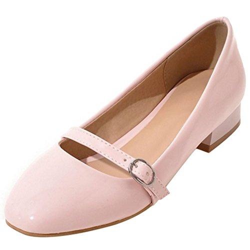 Taoffen Dames Comfort Effen Platte Balletschoenen Ondiepe Mary Janes Pumps 67 Roze
