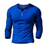 palglg Mens Long Sleeve Muscle Slim Fitted Cotton Henley T-Shirt with Buttons Blue L