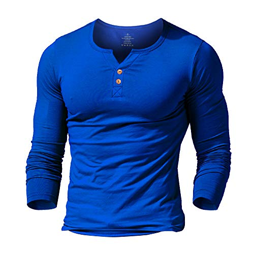 palglg Mens Long Sleeve Muscle Slim Fitted Cotton Henley T-Shirt with Buttons Blue XL
