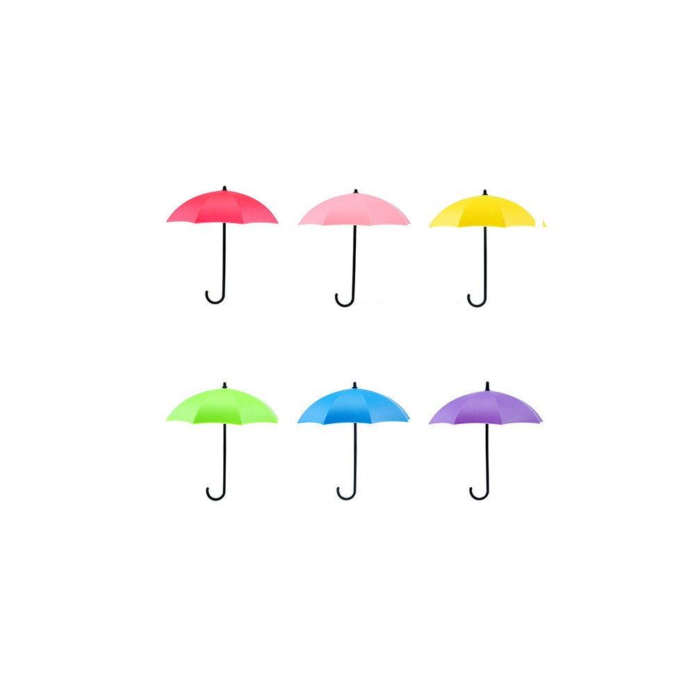 ♚Rendodon♚ 6Pcs Small Umbrella Hook Wall Hook, Household Cleaning Storage Tool, 6Pcs Colorful Umbrella Wall Hook Key Hair Pin Holder Organizer Decorative Organizer (Blue,Green,Red,Pink,Purple,Yellow)