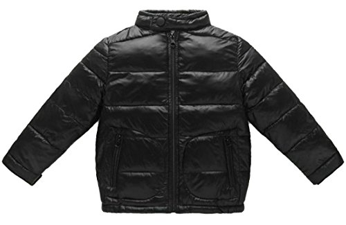 Pandapang Boys Loose Solid Stand Neck Lightweight Puff Down Jackets Coat Black (Boys Puff Jacket)