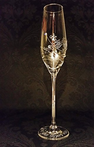 930ec2974d44 Personalised Dartington champagne flute glass Glitz with Swarovski elements  hand engraved Mothers Day Gift ideas