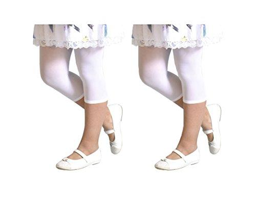 CALZITALY 2 Pairs Girls Cropped Leggings   Capri Footless Pants   40 DEN   White, Black   Italian Hosiery   (8/10 Years, White) ()