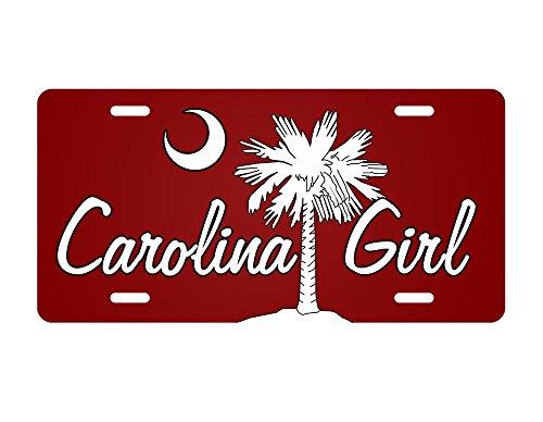 Carolina License Plate, North Carolina South Carolina Girl Palm Tree Saw Palmetto Crescent Moon 6x12 Aluminum Metal Sign. (Girl Sign Aluminum)