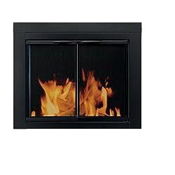Pleasant Hearth AN-1011 Alpine Fireplace Glass Door, Black, Medium