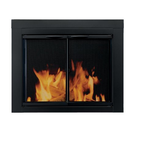 New Flame Design Faceplate - Pleasant Hearth AN-1012 Alpine Fireplace Glass Door, Black, Large