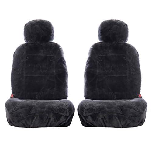 SHEEPSKIN ONE PLUSH SEAT COVER INSERT W HOOK /& LOOP HEADREST OPENING 4 COLORS ©