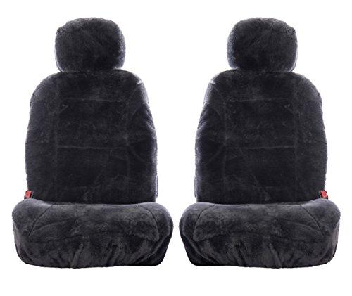 Sheepskin Car Seat Covers, Premium Set of 2, Genuine Australian Sheepskin Front, Universal Size, Back Storage Pocket, Stylish Design, Gray Color by Eden & Main (Image #1)