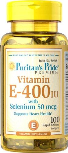 Fierté Vitamine E-400 UI de Puritan avec Sélénium 50 mcg-100-Capsules
