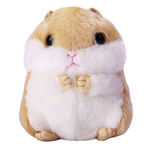 Women's Cute Hamster Plush Keychain Stuffed Animals Key Chain Charm Handbag Bag Purse Pendant(Brown)