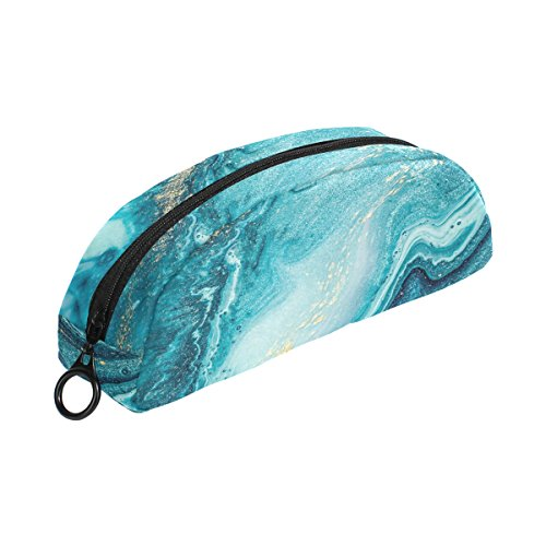 ALAZA Navy Blue Marble Swirls Pencil Case Stationery Pouch B