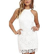 YACUN Women's Halter Sleeveless Lace Elegant Wedding Party Dress