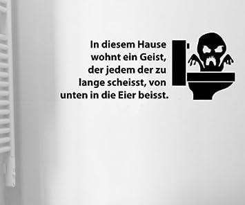Toiletten Spruch Aufkleber Wandtattoo Badezimmer Wc Bad Deko Sticker 1k005 Farbe Schwarz Matt Breite Vom Motiv 35cm