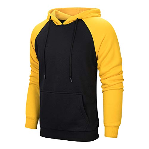 TOLOER Mens Hoodies Pullover - Contrast Color Casual Hoodie for Men - Sports Outwear Sweatshirts Black Yellow X-Large ()