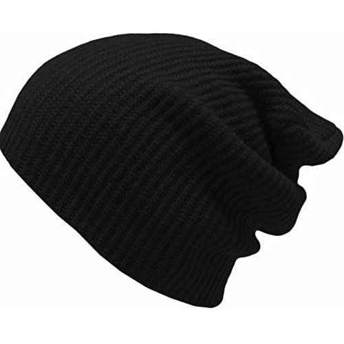[FHSom Men's Woolen Knit Black Casual Stylish Warm Soft Winter Slouchy Beanies Skull Snow Cap Hat] (Pork Pie Hat For Sale)