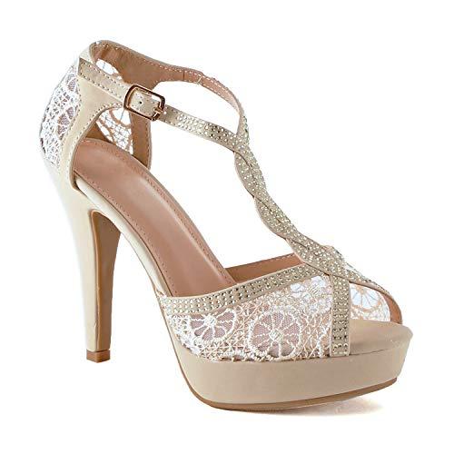 Guilty Shoes Womens Open Toe Crochet Lace Stiletto Peep Toe Pump High Heel Platform Sandals (6 M US, Beige Lace) ()