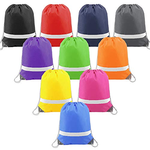 (Color-Drawstring-Bags-Backpack Bulk Reflective 10 Pack, Cheap Gym Sack Pack Party Gifts Bags for Kids)